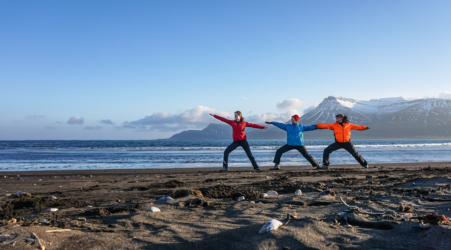 Hiking yoga, walking yoga, Iceland, guided tour, East Iceland